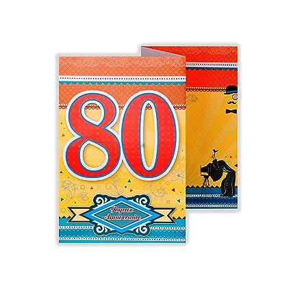 afie 882144 tarjeta 3 Volets cumpleaños 80 años: Amazon.es ...