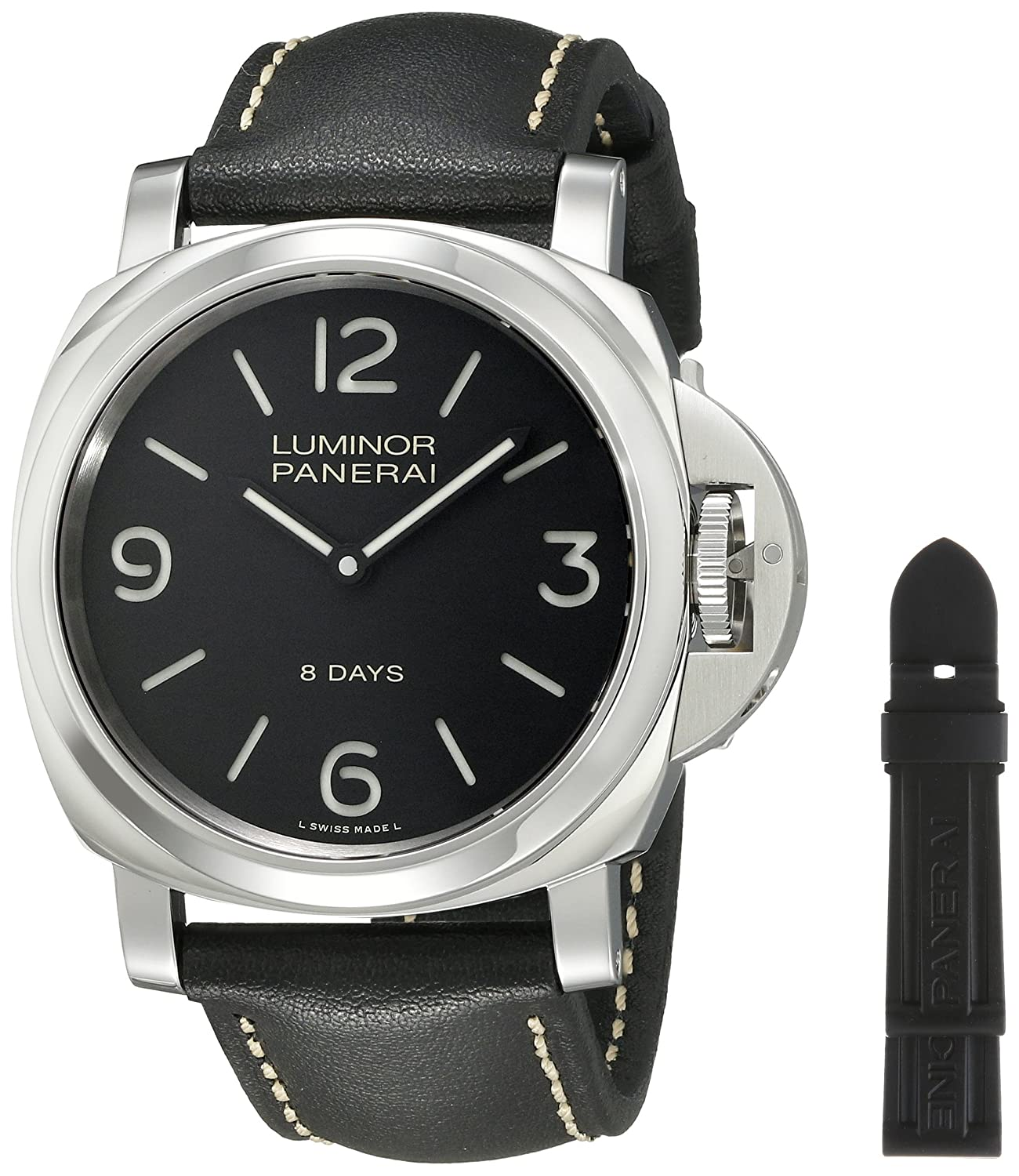 Panerai Men s PAM00560 Luminor Stainless Steel Mechanical Hand-Wind Watch with Interchangeable Bands