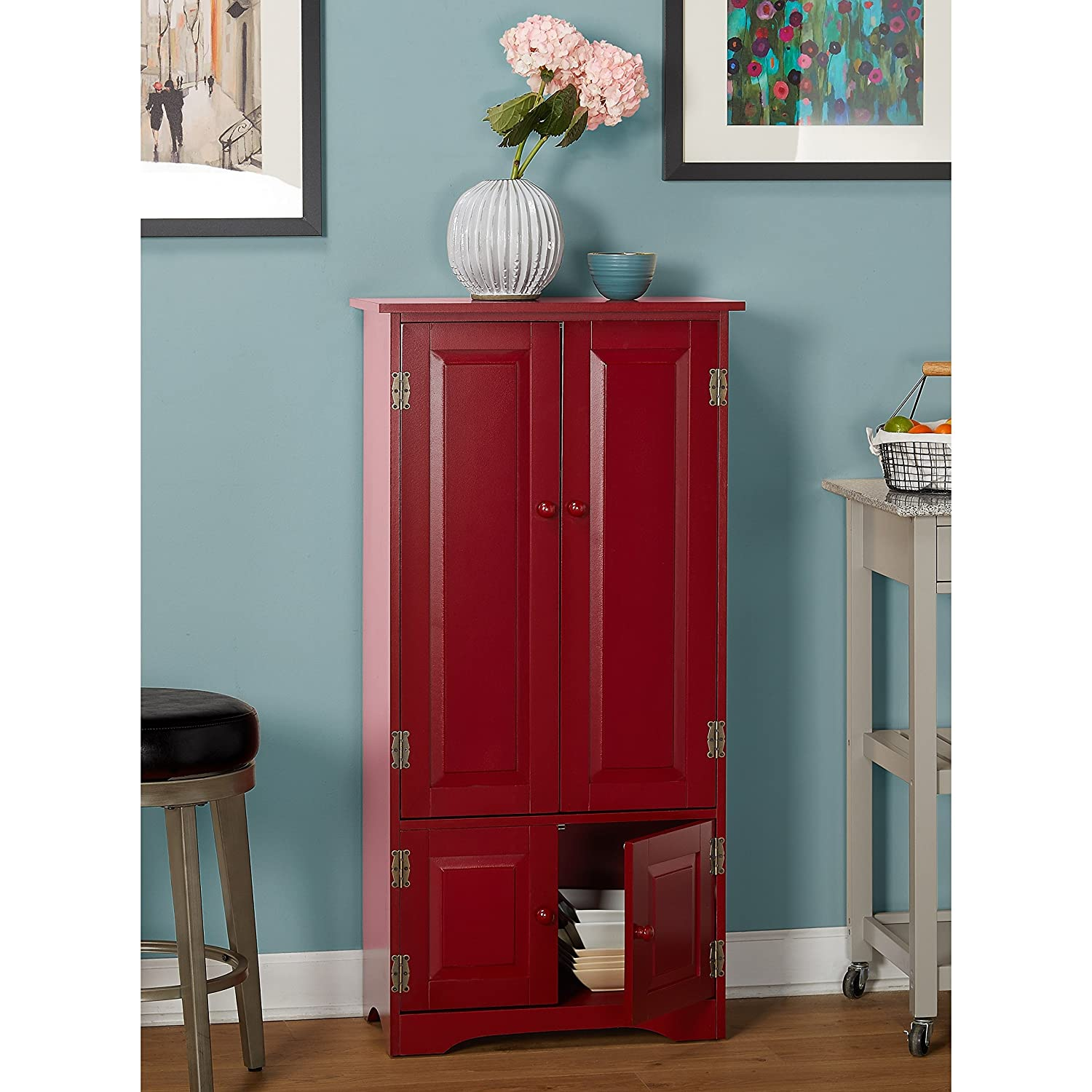 Amazon Modern Transitional Wood Tall Cabinet with 4 Shelves