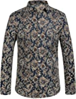 SSLR Men's Paisley Printed Regular Fit Casual Long Sleeve Shirt