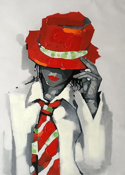 Legendarte PD-01 Quadro con Dettagli Dipinti a Mano - Ragazza con Cappello  e Cravatta f7dd88d0b24b