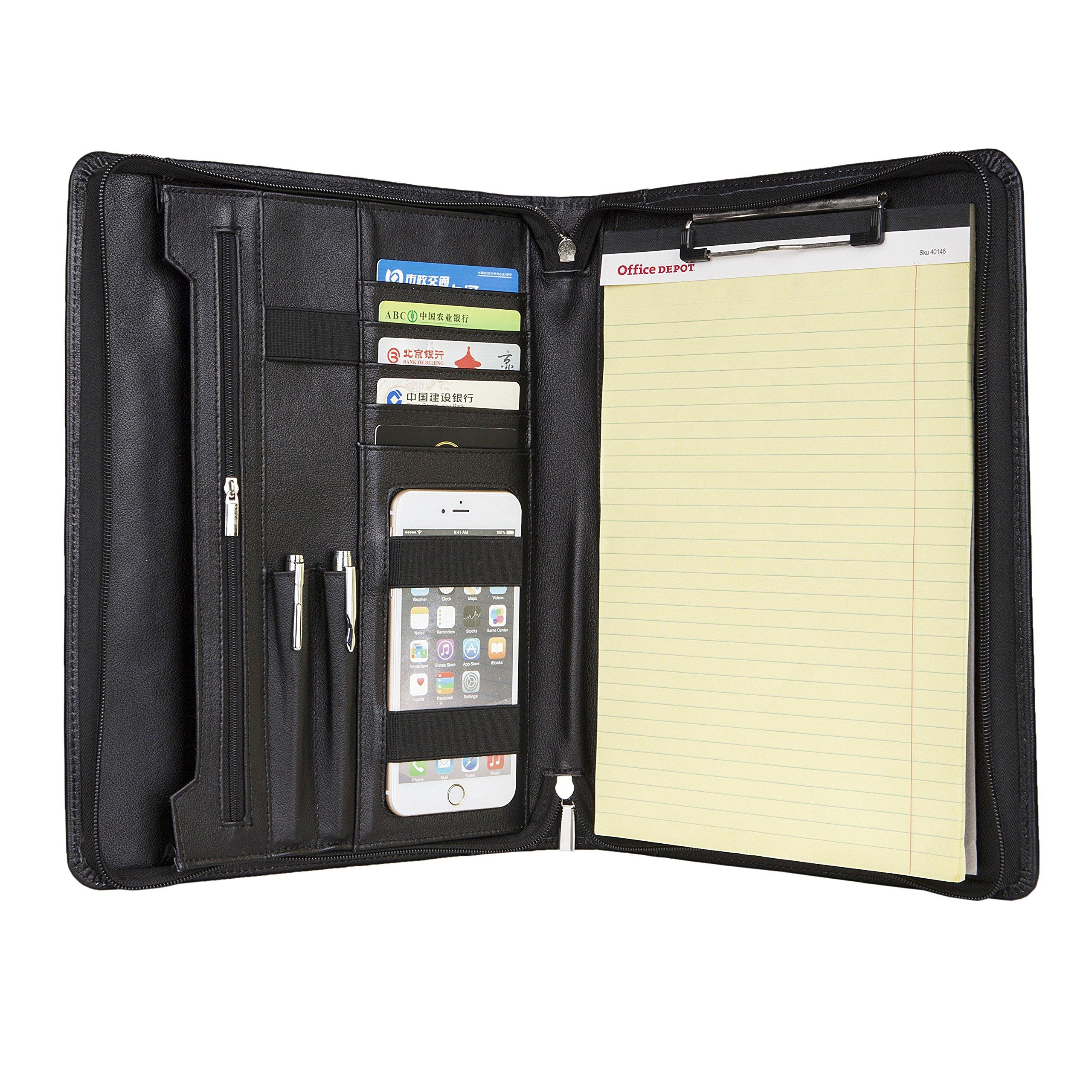 Business Genuine Leather Portfolio Folder, Soft Leather Padfolio ,Pocket for iPad Pro 12.9 and Miscrosoft Surface Pro3/4/5