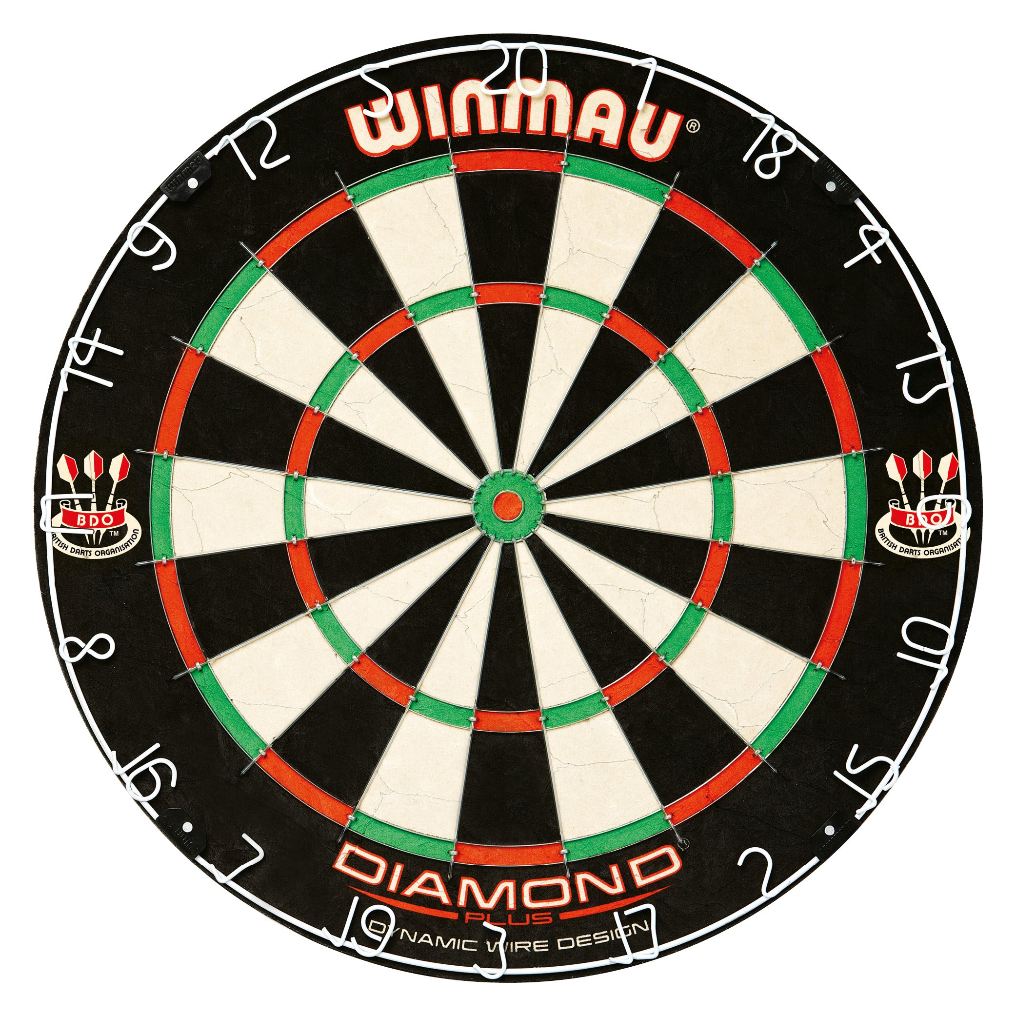 Winmau Diamond Plus Tournament Bristle Dartboard with Staple-Free Bullseye for Higher Scores and Fewer Bounce-Outs by Winmau
