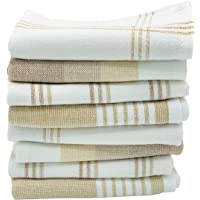 The Accented Co. Dish Cloths, Set of 8 - Absorbent, Fast Drying Dish Towels - Turkish Cotton with Hanging Loop (12x12…