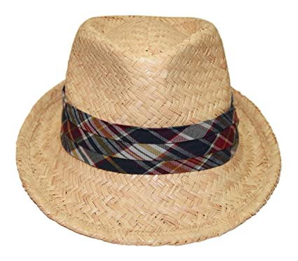 ae21d4b1835 Image Unavailable. Image not available for. Color  Ralph Lauren Polo Mens  Natural Straw Fedora Hat Beige Navy Red Plaid Madras ...
