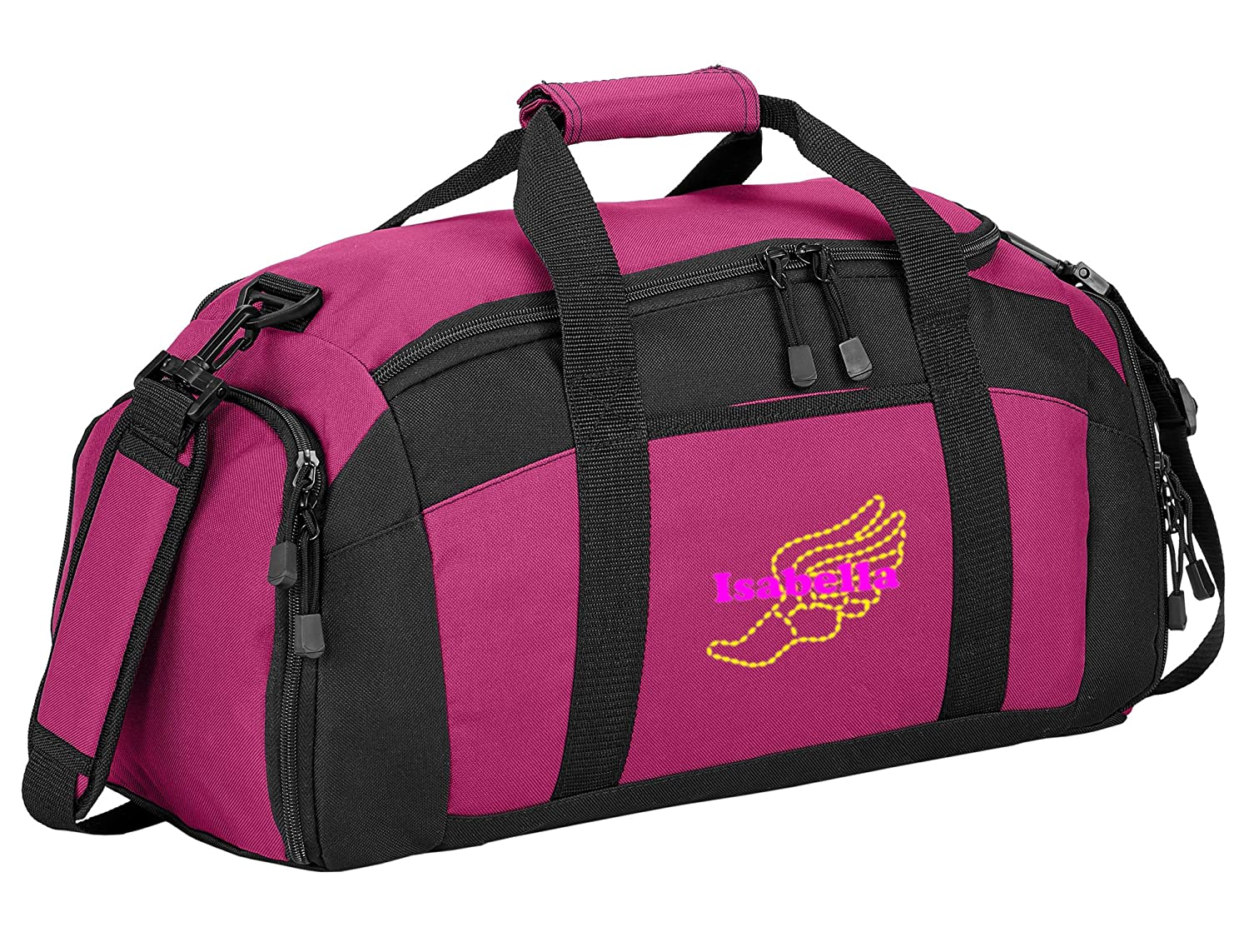 Personalized Track Field Gym Duffel Bag with Custom Text Sports Bag with Customizable Embroidered Monogram Design Tropical Pink