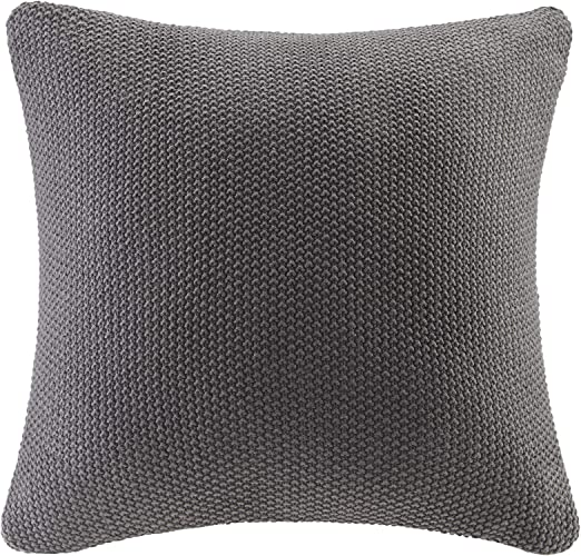Ink+Ivy Bree Knit Square Pillow Cover Charcoal 20x20 II30-738