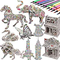 3D Coloring Puzzle Set,4 Animals Puzzles with 12 Pen Markers, Art Coloring Painting 3D Puzzle for Kids Age 7 8 9 10 11…