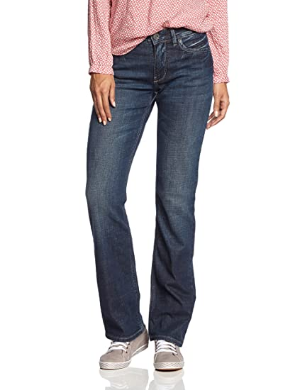 H.I.S Jeans Women's Jeans Coletta Straight Jeans, Blue (Dark Blue Used  W517),