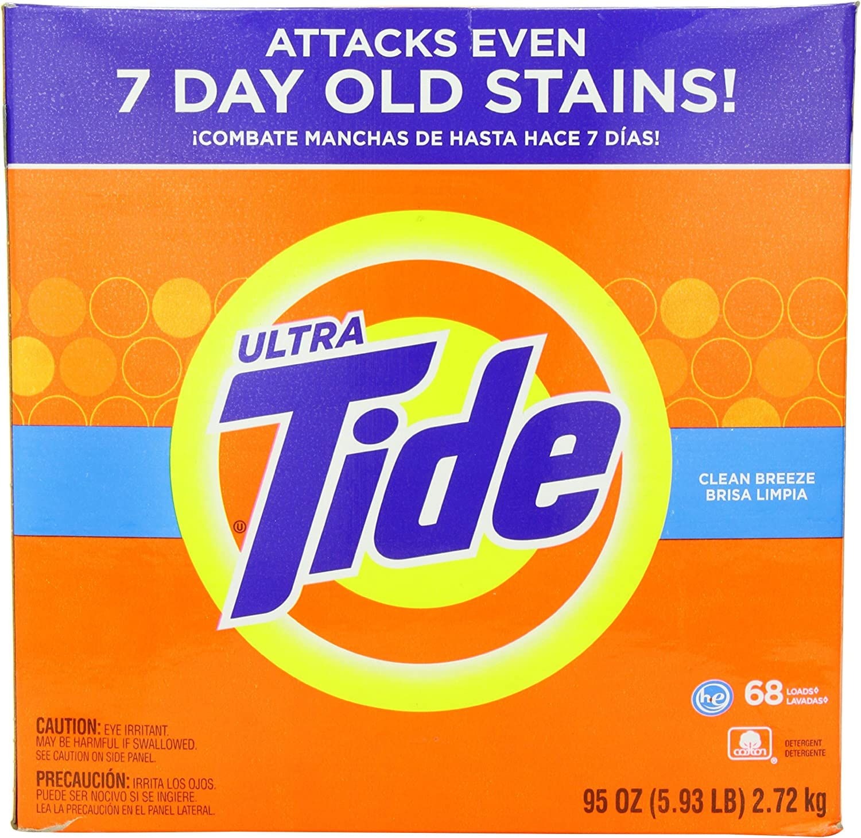 Tide Ultra He Clean Breeze Scent Powder Laundry Detergent, 68 Loads, 95 oz