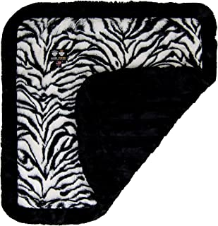 product image for BESSIE AND BARNIE Zebra/Black Puma (Ruffles) Luxury Ultra Plush Faux Fur Pet, Dog, Cat, Puppy Super Soft Reversible Blanket (Multiple Sizes)