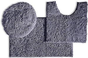 LuxUrux Bathroom Rugs 3pc Non-Slip Shaggy Chenille Bathroom Mat Set, Includes U-Shaped Contour Toilet Mat, 20 x 30'' and 18 x 20'' Lid Cover Bath Mat, Machine Washable (3 Pc Set - Style B, Dark Grey)