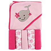 Luvable Friends Hooded Towel and 5 Washcloths, Whale