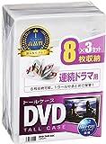 サンワサプライ DVDトールケース 8枚収納×3 クリア DVD-TW8-03C