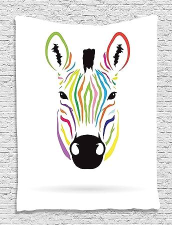 Amazoncom Ambesonne Animal Tapestry Zebra Decor Colorful Exotic