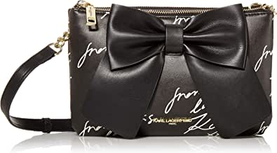 Karl Lagerfeld Paris Kris Fara Double Zip Crossbody Bag with Bow
