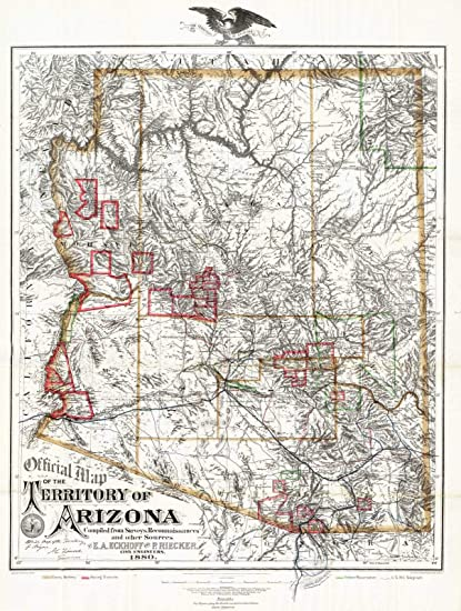 Map Of Arizona 1880.Historic Map Official Map Of The Territory Of Arizona 1880 Antique Vintage Decor Poster Wall Art Reproduction 24in X 18in