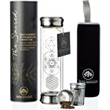 The NEW Sacred Glass Tumbler with Infuser + Strainer for Loose Leaf or Ice Tea. Improved V2 Design. Cold Brew Coffee Mug or Fruit Water Travel Bottle. 14oz. Free Sleeve. Beautifully Packaged.