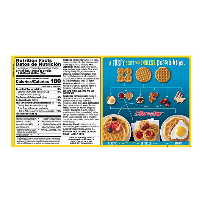 Kelloggs Eggo, Frozen Waffles, Strawberry, Easy Breakfast, 12.3 oz Box (10 Count): Amazon.com: Grocery & Gourmet Food