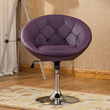 roundhill furniture noas round tufted back tilt swivel accent chair purple