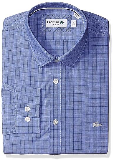 Plaid Sleeve Lacoste Spread Slim Collar Poplin Fit Men's Long Glen UUxEFYq