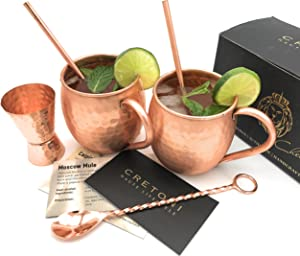 CRETONI Copperlin Pure Copper Hammered Moscow Mule Mugs Set of 2 with Bonus - Handcrafted 16 oz Mugs with 2 Copper Straws, Hammered Jigger & Twisted Bar Spoon - The Ultimate Gift Set!