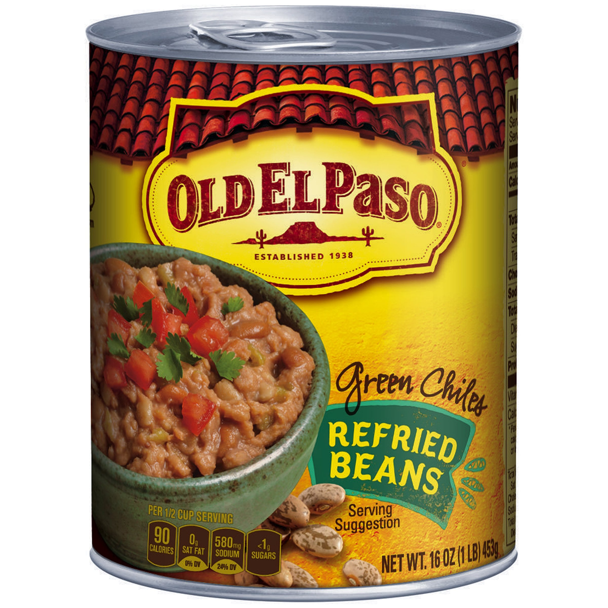 Old El Paso Refried Beans with Green Chiles, 16-Ounce (Pack of 12) by Old El Paso