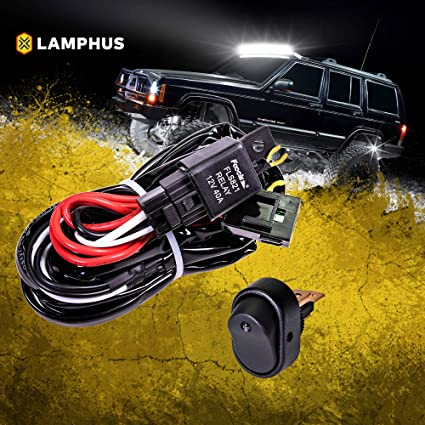 LAMPHUS 12V 40A Off Road ATV/Jeep LED Light Bar Relay Wiring Harness on