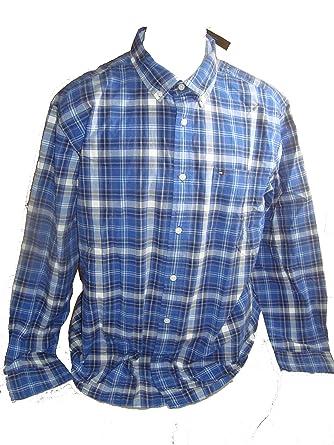 5b6adad174 Tommy Hilfiger Mens Classic Fit Plaid Button Down Shirt X-Large Monaco Blue  at Amazon Men's Clothing store: