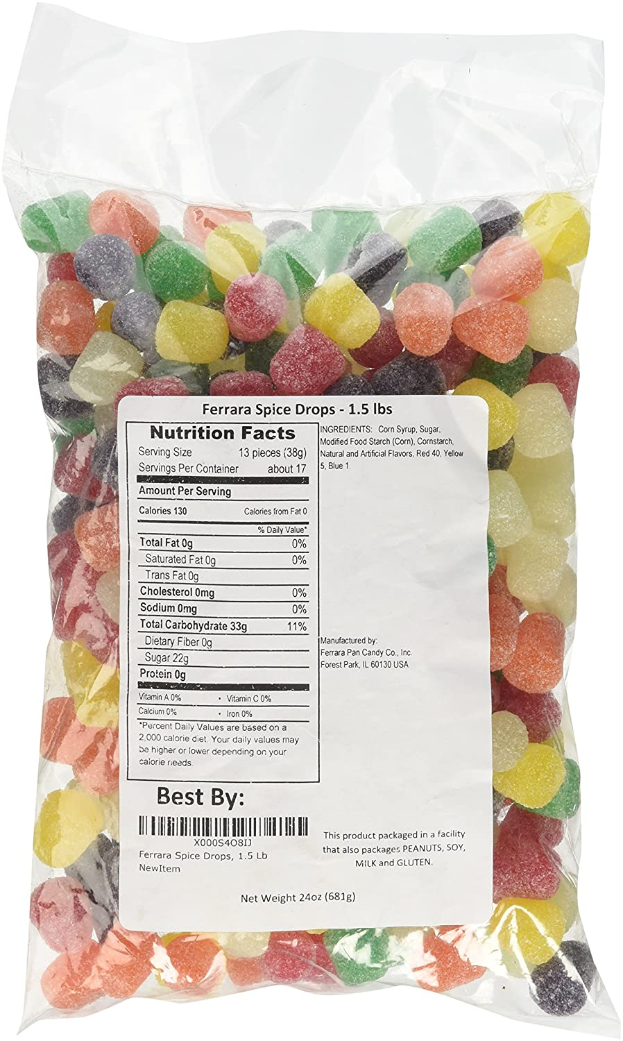 Spice Drops Candy old fashioned gum drops jelly candy, 1.5 pounds bag