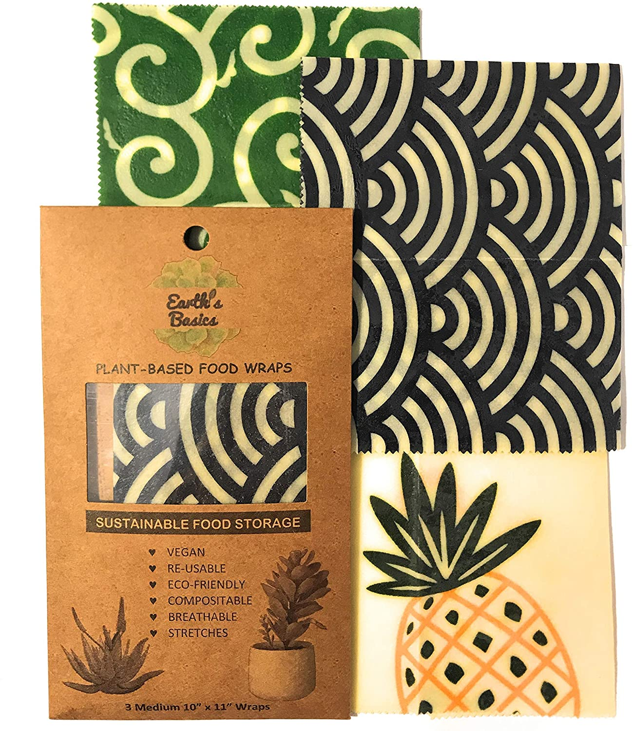 Reusable Vegan Wraps For Food, Organic Assorted Design 3 Pack by Earth's Basics - Plant Based Food Wraps, Non-Toxic, Biodegradable, Eco friendly - 3 Medium Wraps