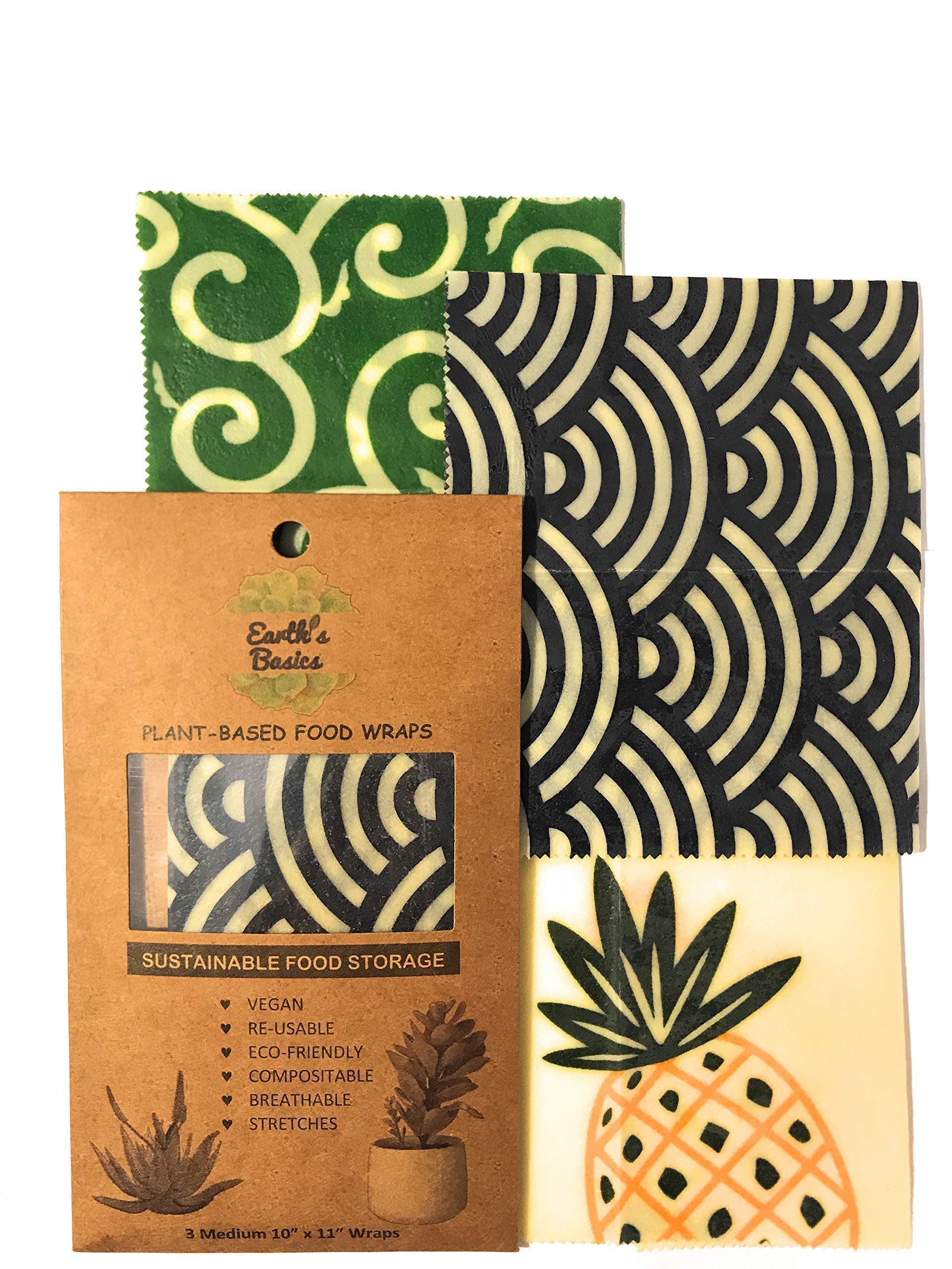 Reusable Organic Food Wraps, Assorted Design 3 Pack by Earth's Basics - Plant Based Food Wraps, Vegan, Non-Toxic, Eco friendly - 3 Medium Wraps by Earth's Basics