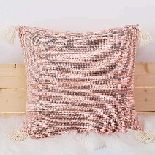 MOOJIIN Funda de Almohada de Punto sólido de algodón para ...