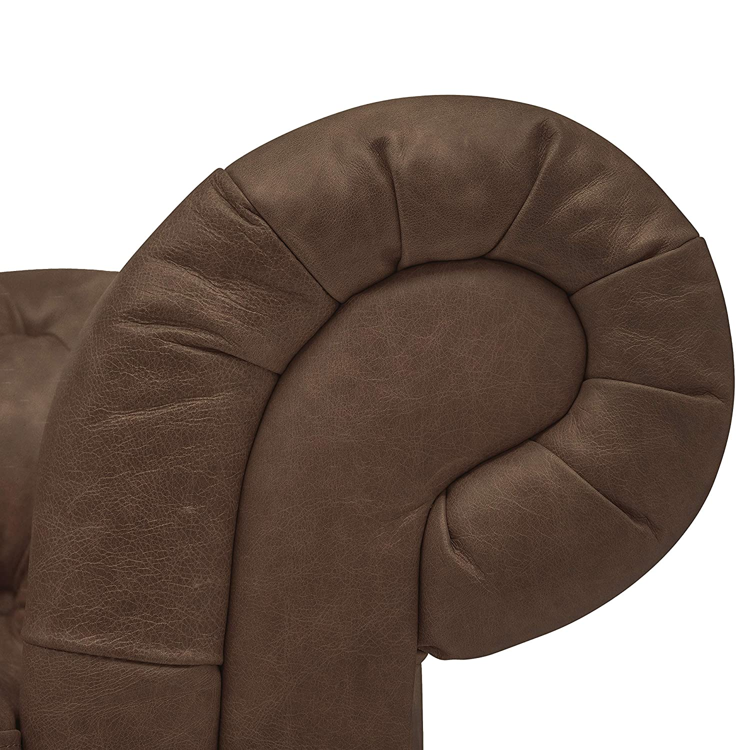 Stone Beam Bradbury Chesterfield Tufted Leather Loveseat Sofa Couch, 78.7 W, Brown