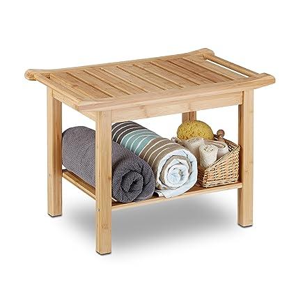 Relaxdays 10020949 Tabouret de salle de bain en bambou banc nature bois  compartiment meuble HxlxP: 45 x 66 x 40 cm, nature