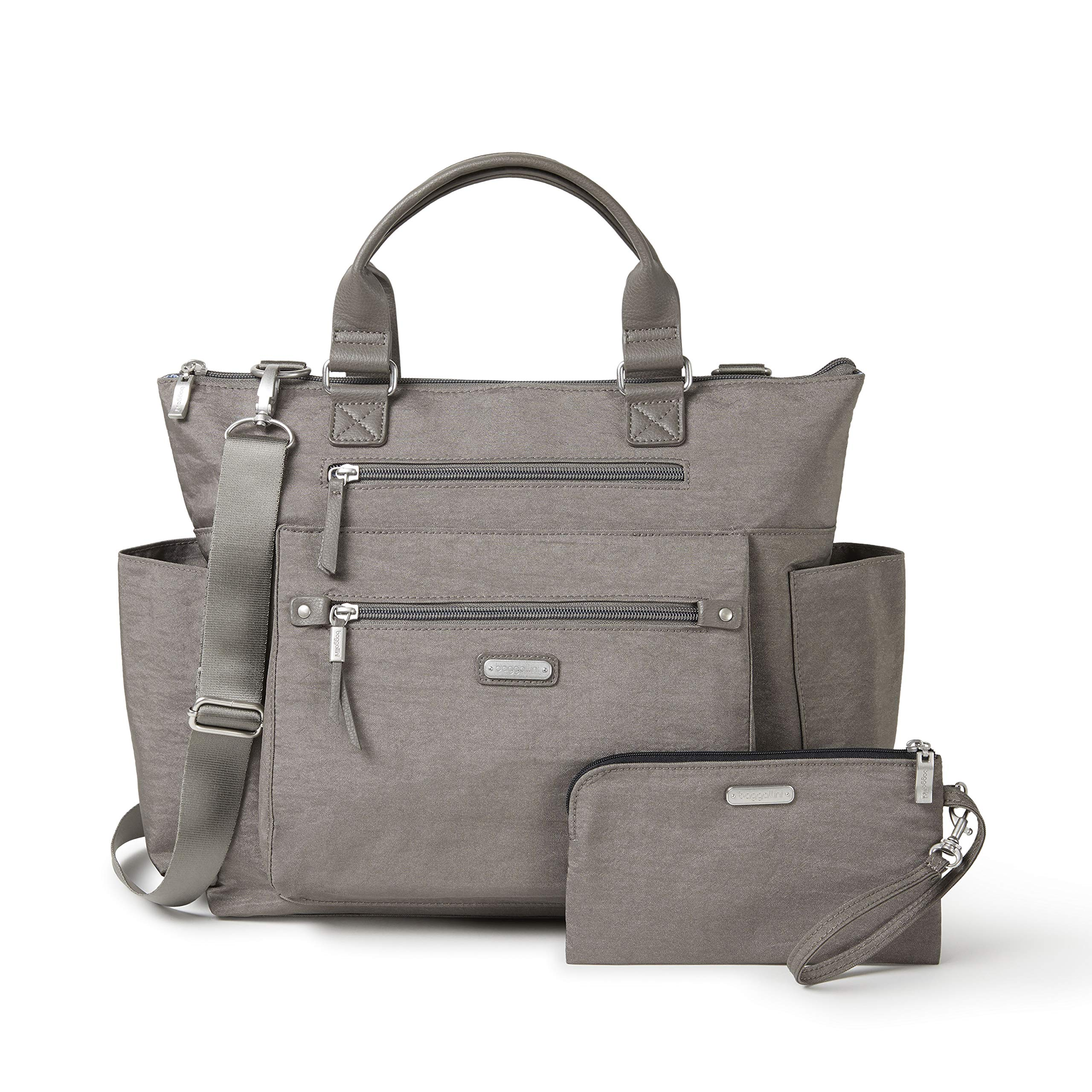 Baggallini 3-in-1 convertible backpack with RFID phone wristlet (Sterling Shimmer)
