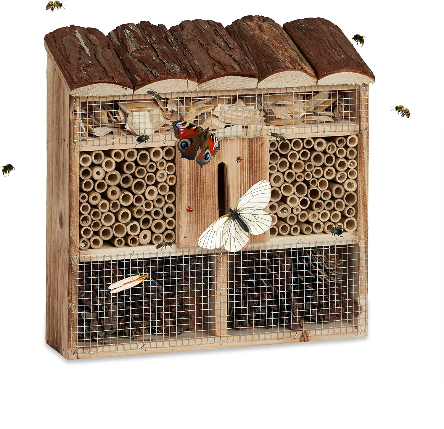 Relaxdays Hanging Insect Hotel, Bee Home, Butterfly House, Flamed Wood, HxWxD: 31 x 30.5 x 9.5 cm, Natural Brown