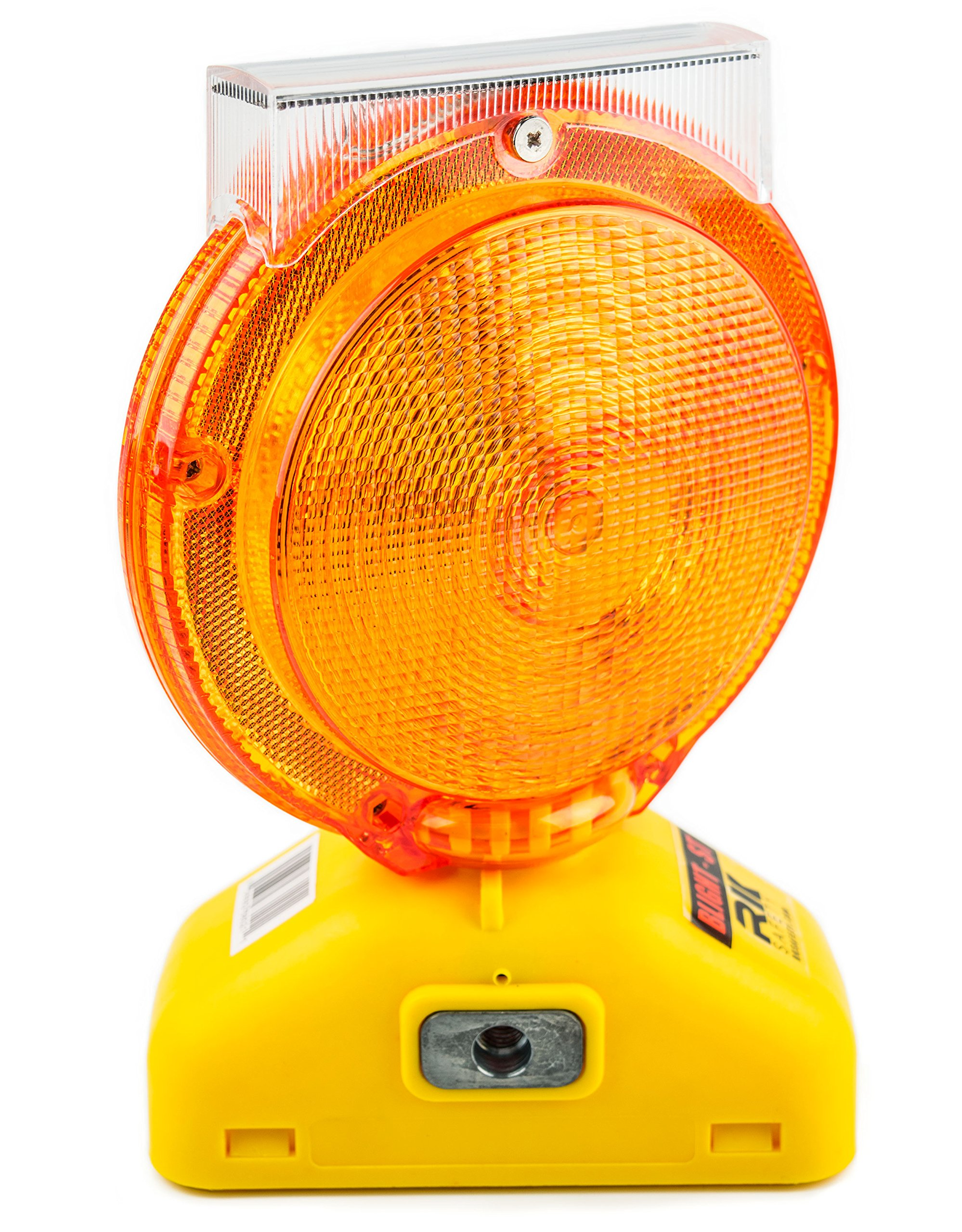 RK Safety BLIGHT-ST Solar Rechargeable Barricade Amber LED Warning Lights | Traffic signal Flashing 2-Sided Visibility, Type A/C, 3-Way Operation Switch | W/ Switch Pin and Bolt