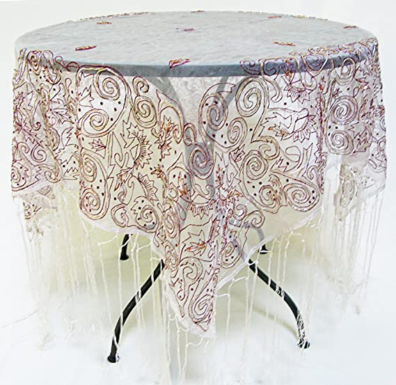 Organza Black background with White /& Gold embodiment Silk Based Tablecloth for Square Tables Size: 39 x 39 inches