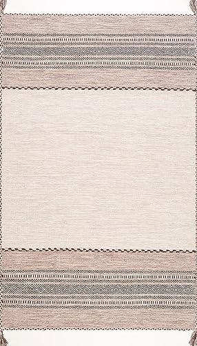 nuLOOM Deetta Banded Tassel Area Rug, 6 x 9 , Light Beige