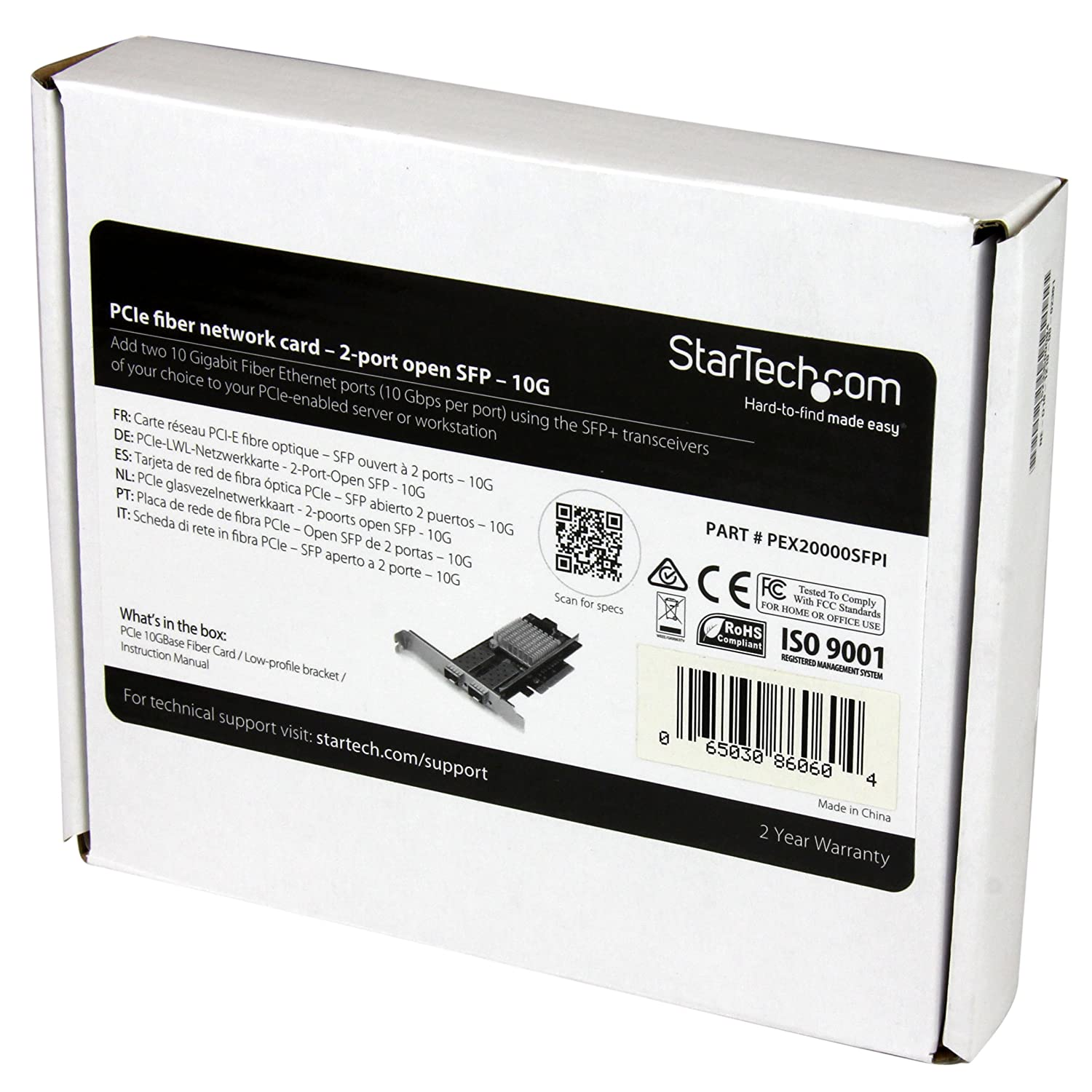 StarTech.com 10G Network Card - 2X 10G Open SFP+ Multimode LC Fiber Connector - Intel 82599 Chip - Gigabit Ethernet Card (PEX20000SFPI)