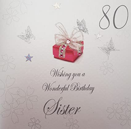 WHITE COTTON CARDS 80 Wishing You A Wonderful SisterHandmade 80th Birthday Card Red Pressie Amazoncouk Kitchen Home