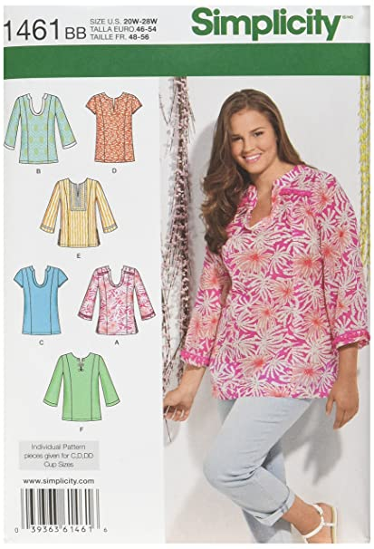 Amazon.com: Simplicity Pattern 1461 Women\'s Tunic with Neckline and ...
