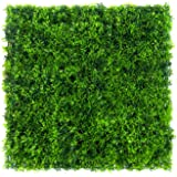 "Artificial Boxwood Hedge Panels, Table Grass Runner Mats, Faux Greenery Mats for Outdoor Fence or Indoor Plants Wall, 10"" L x 10"" W Panels, Pack of 1"