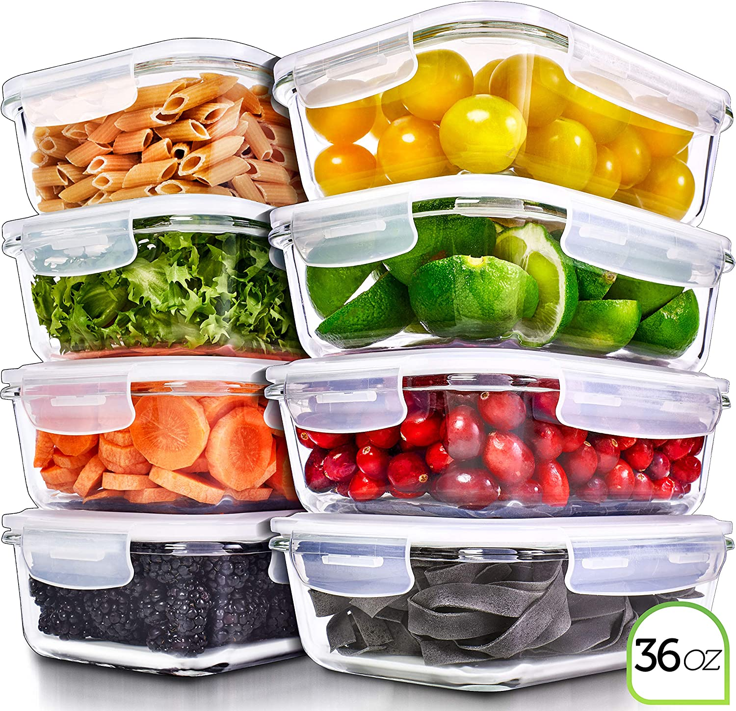 Prep Naturals Glass Meal Prep Containers - Food Prep Containers with Lids Meal Prep - Food Storage Containers Airtight - Lunch Containers Portion Control Containers Bpa-Free (8 Pack,36 Ounce)