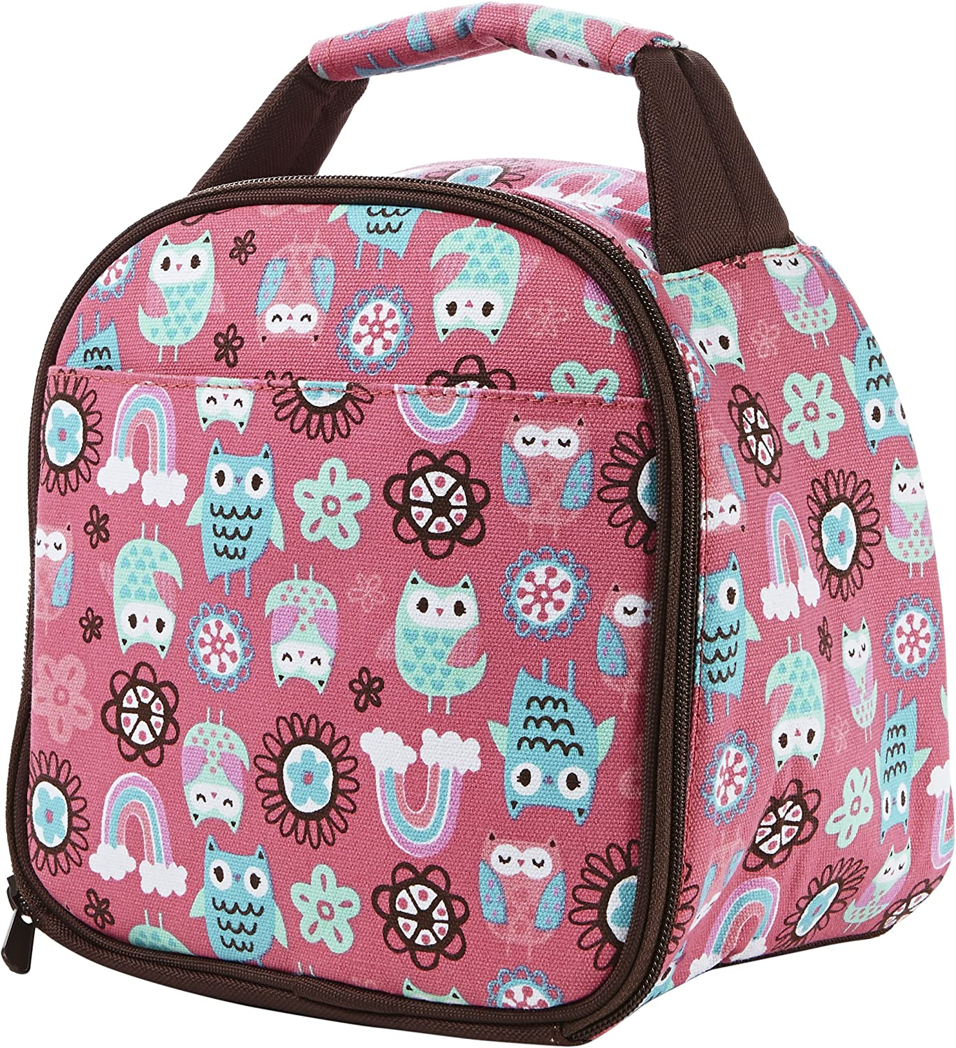 Fit & Fresh Gabby Insulated Lunch Bag with Zipper, Rainbow Owl