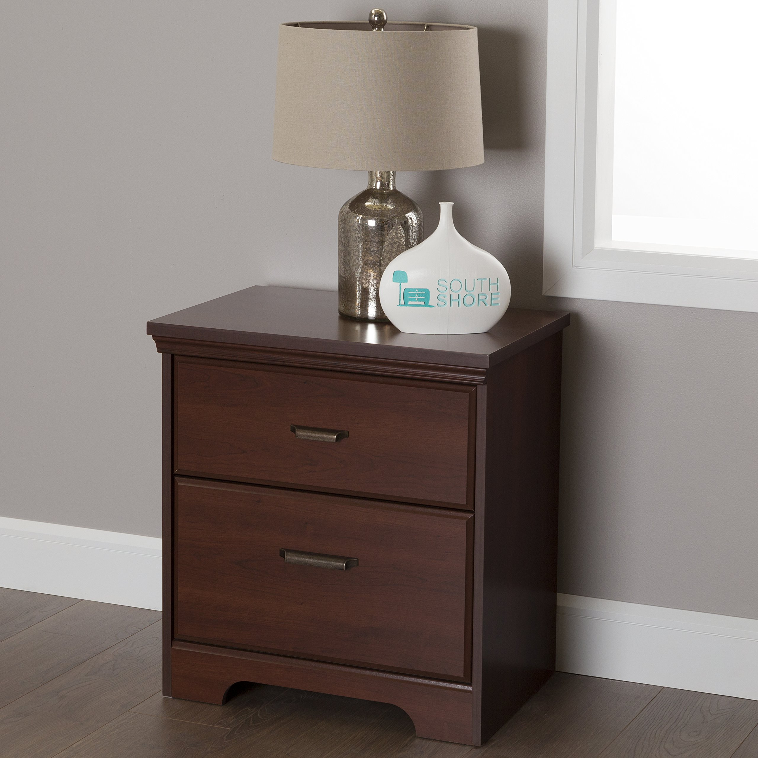 South Shore Versa 2-Drawer Nightstand, Royal Cherry with Antique Handles
