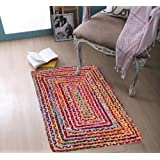 Jute Cotton Multi Chindi Braid Rug 2X3' -Multi Color, Hand Woven & Reversible for Living Room Kitchen Entryway Rug,Jute Burla