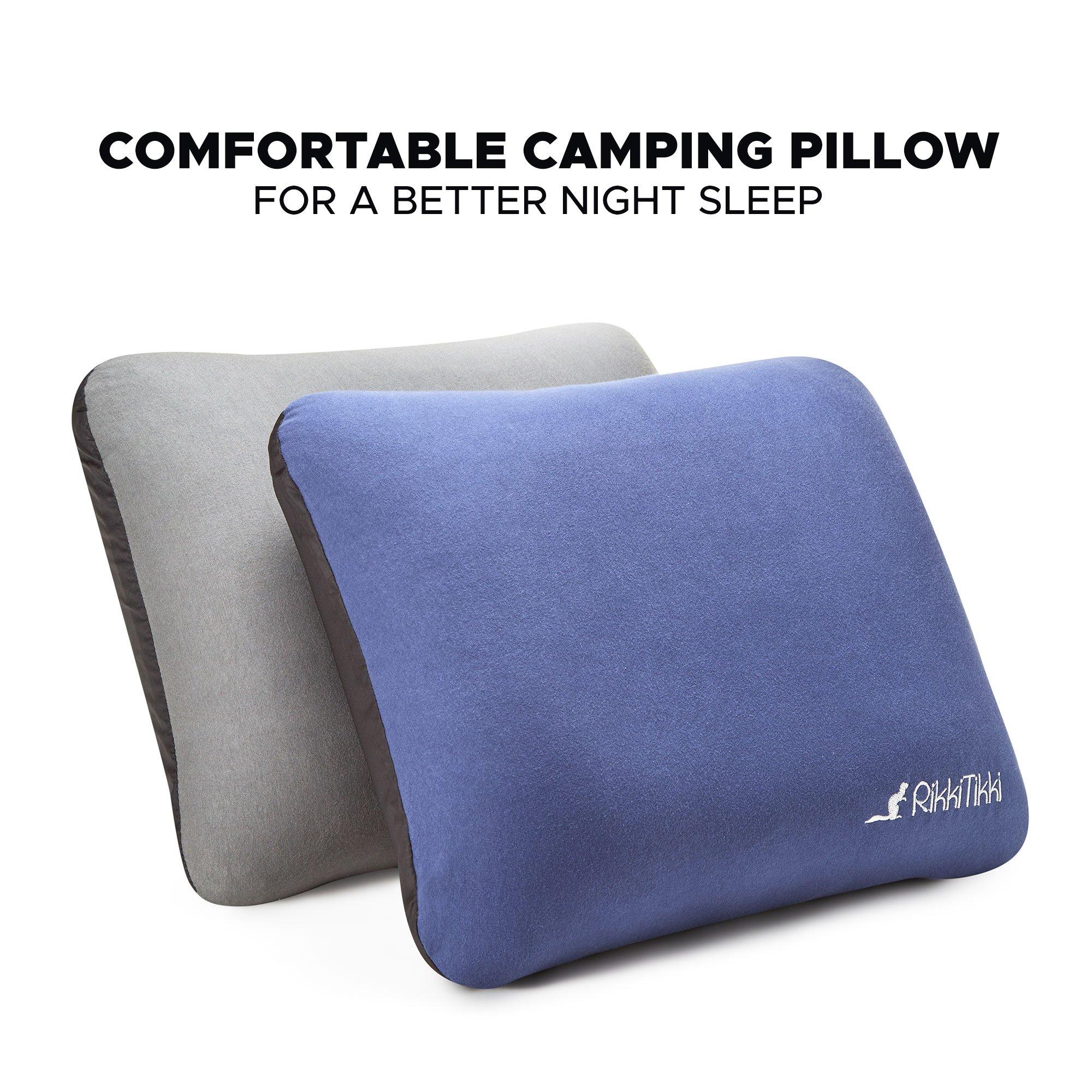51feeffd9ba RikkiTikki Compressible Inflatable Pillow - Back Lumbar Support Pillow - Camping  Backpacking Pillow – Portable Blow
