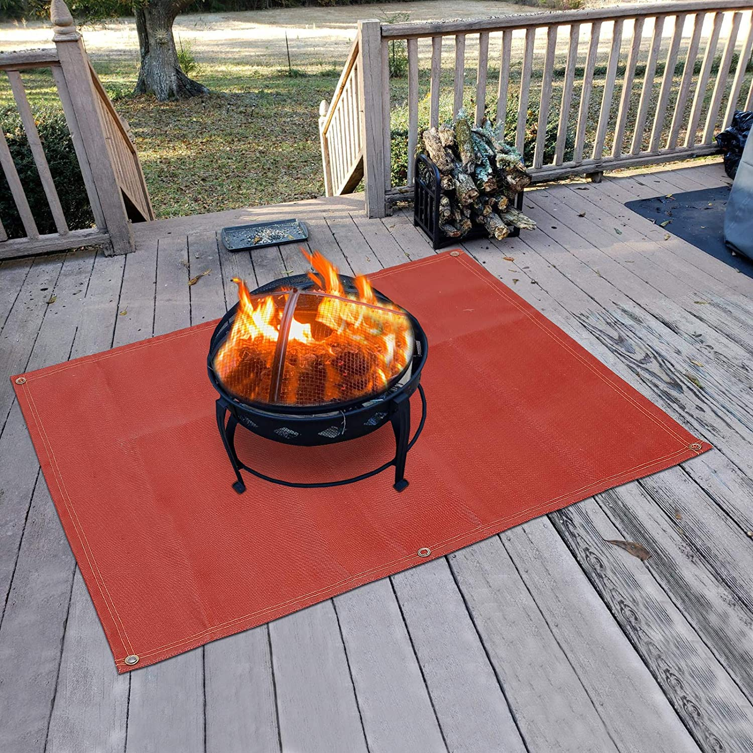 Amazon Com Fire Pit Mat Silicone Stove Fire Mat Retardant Fireproof Heat Resistant Ember Mat And Grill Mat Under The Stove Protect Your Deck Terrace Lawn Or Campground From Embers Washable 70 58 Home Improvement